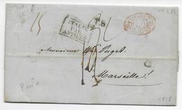 """ITALIE - 1837 - LETTRE PURIFIEE De NAPLES => MARSEILLE -""""NETTA FUORI E SPORCA DENTRO"""" PARTIEL => PURIFICATION ITALIENNE - 1. ...-1850 Vorphilatelie"""