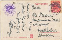 Karte Salzburg Rudolf Binder 10.i.21 Nach Ängelholm Schweden 80 Heller - 1918-1945 1. Republik
