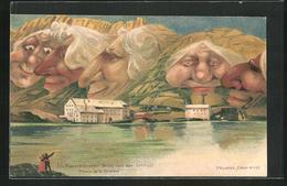 Künstler-AK Killinger Nr. 105: Ein Mauerblümchen-Gruss Von Der Grimsel, Berg Mit Gesicht / Berggesichter - Zonder Classificatie