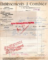 71- MACON- FACTURE J. COMBIER -FABRIQUE CARTES POSTALES ILLUSTREES- 4 RUE AGUT -1939 - Old Professions