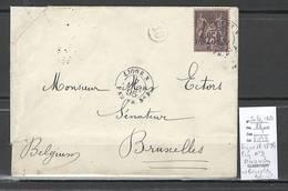 France - Lettre Ligne N -1895 - Paquebot OCEANIEN - Pour Bruxelles - Belgique - Marcofilia (sobres)