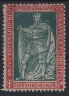 1928 Filiberto 25 C. Dent. 13 3/4 MLH - 1900-44 Vittorio Emanuele III