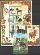 U312 1999 MOCAMBIQUE FAUNA PETS DOGS CAES DO MUNDO 1SH+2BL MNH - Hunde