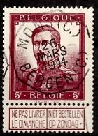 Belgique N° 122 Superbe Oblitération Octogonale Mons 1914. TB. A Saisir! - 1915-1920 Albert I.