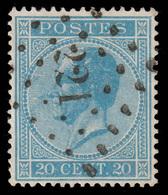 COB N°18  - Obl. Losange De Points - Bureau N° 221 (LODELINSART) - 1865-1866 Profil Gauche