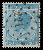 COB N°18  - Obl. Losange De Points - Bureau N° 221 (LODELINSART) - 1865-1866 Profile Left