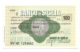 1977 - Italia - Banco Di Sicilia - Unione Commercianti Menfi - [10] Scheck Und Mini-Scheck