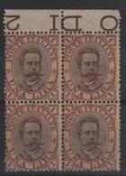 1889 Umberto I 1 L.  MNH Quartina ++++ - Ungebraucht