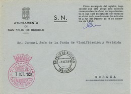 34977. Carta S.N. Franquicia Ayuntamiento SAN FELIU De GUIXOLS (Gerona) 1959. Fechador San Feliu - 1951-60 Cartas