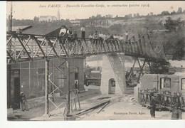 Agen ( Lot Et Garonne) La Gare Et Passerelle En Construction , Ouvriers Au Travail , Train - Agen