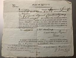 60001 - Ordre De Transport De Troupes Charretier De Commune De Grandcour Pour La Place De Payerne Suisse 27 Avril 1814 - Vieux Papiers