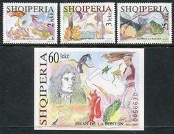 ALBANIA 1995 La Fontaine Tercentenary MNH / **.  Michel 2576-78, Block 106 - Albanie