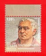 Armenien/Armenie/Armenia 2019, 100 Ann. Of Hrachya Hovhannissian (1919-1997), Poet Writer - MNH - Armenië