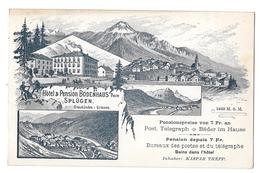 Suisse Switzerland Hotel Pension Bodenhaus Splügen Poste Grisons Viamala Non Circulée - GR Graubünden