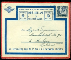 Nederlands Indie 1937 Voorkant Luchtpostenvelop 1e Der 3 X 's Weeksche Vluchten 22 Oktober 1937 VH C 129 A - Nederlands-Indië