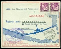 Nederlands Indie 1937 Voorkant Luchtpostenvelop Van De KNILM - Douglas Verbinding Soerabaja - Makassar - Nederlands-Indië
