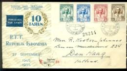 Indonesie 1955 Aangetekende FDC 10 Jaar Indonesische PTT - Indonesië