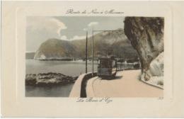 EZE - LA BAIE D'EZE - ROUTE DE NICE A MONACO - SUPERBE ANIMATION AVEC TRAMWAY - VERS 1900 - Eze