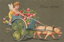 CPA Glaçée Attelage Animal Cochon Porc Pig Porcelet Ange Angelot Bonne Année Fantaisie Illustrateur (2 Scans) - Varkens