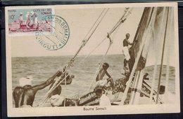 """Cote Des Somalis - 1949 - Affranchissement à 31 F Sur CPA """"Boutre Somali"""" De Djibouti Pour Boma (Congo-Belge) B/TB - - Lettres & Documents"""