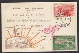 """PRECURSEUR Belle Carte PAR AVION Commémorative Du Rallye Aerien Septembtre 47 """"Les Ailes D'Azur"""" CANNES+ Vignette - Marcophilie (Lettres)"""