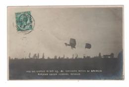 CARTOLINA POSTALE Circuito Aereo Di Brescia 1909 Rougier Su Biplano Voisin - Au Bon Marché