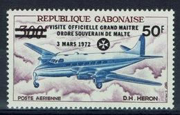 Gabon, Airliner De Haviland Heron, Overprint, Sovereign Military Order Of Malta, 1972, MNH VF airmail - Gabon (1960-...)
