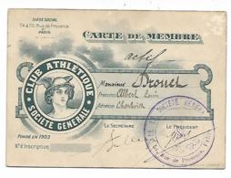 ANCIENNE CARTE DE MEMBRE CLUB ATHLETIQUE SOCIETE GENERALE, CHARLEVILLE, ARDENNES, 1910, SPORT, SPORTIF - Athletics