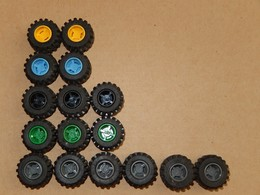 16 Roues Lego Jaune - Vert - Noir - Gris Foncé - Bleu 6015 - Lego System
