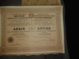 """Action De 50 Roubles"""" Sté D'industrie Houillère De La Russie Méridionale """" 1908 Reste Des Coupons - Rusland"""