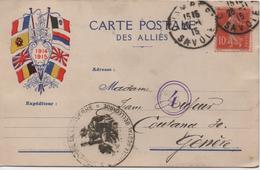 CARTE POSTALE DES ALLIES   DE CHAMBERY  A GENEVE  SUISSE  1915 - Guerre 1914-18