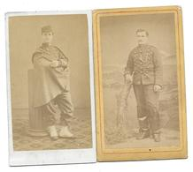 SOLDAT CAVALIER SECOND EMPIRE NAPOLEON - LOT 2 CDV PHOTOS DT BREARD CLERMONT MILITAIRE - Guerre, Militaire