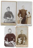 REGIMENT DE DRAGONS N° 2 7 17 LYON CARCASSONNE SAUMUR - LOT DE 4 CDV PHOTOS - Guerre, Militaire