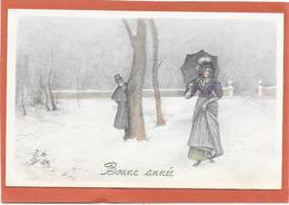 VIENNOISE V.K VIENNE - Femme Au Parapluie Sous La Neige - Tarjetas De Fantasía