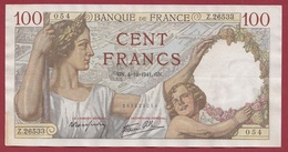 "100 Francs ""Sully "" Du 04/12/1941.GN--F/TTB+ ---ALPH.Z.26533--AUCUN TROU D EPINGLE - 1871-1952 Circulated During XXth"