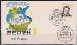 Berlin FDC 1981 Nr.654  200. Geb.Peter Christian Wilhelm Beuth (d 1605 ) Günstige Versandkosten - FDC: Covers