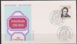 Berlin FDC 1981 Nr.654  200. Geb.Peter Christian Wilhelm Beuth (d 1114 ) Günstige Versandkosten - FDC: Covers