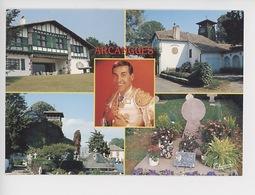 Arcangues : Le Cimetière Tombe Discoïdale De Luis Mariano 1914-1970 Portrait église (cp Vierge) - Autres Communes