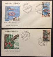 PF5 Oeuvres Cantines Scolaires PA15 Et 35 Papeete 29/11/1965 FDC Premier Jour Lot 2 Lettre - FDC