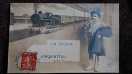 CPA UN BONJOUR D ARGENTEUIL TRAIN LOCOMOTIVE GARCON  REX 4302 1912 - Argenteuil