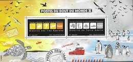 TAAF, FRENCH ANTARCTIC,  2019, MNH, POST BOXES OF THE WORLD II, SHIPS, BIRDS, TURTLES, PENGUINS, SHEETLET - Pinguini