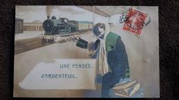 CPA UNE PENSEE D ARGENTEUIL TRAIN LOCOMOTIVE FEMME  REX  1912 - Argenteuil