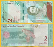 Venezuela 2 Bolivares P-101 2018 UNC Banknote - Venezuela