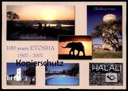 POSTKARTE 100 YEARS ETOSHA 1907-2007 NAMIBIA OKAUKUEJO WATERHOLE HALALI NAMUTONI FORT Elephant Elefant Namibie Zebra - Cebras