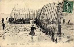 Cp Dieppe Seine Maritime, Les Parcs à Marée Basse, Strandpartie Mit Fischnetzen - Unclassified