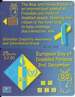 GIBRALTAR(chip) - Disability Awareness Day, Tirage 5000, Used - Gibraltar