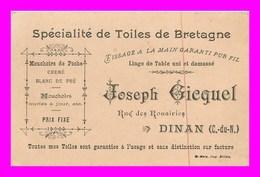 Dinan * Joseph Giquel * Toiles De Bretagne  Pub  ( Scan Recto Et Verso ) 12 X 8 - Dinan