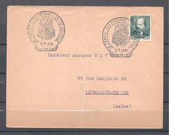 Enveloppe 27 Juin 1942 Paris Avec Timbre De Massenet Seul Sur Lettre Et Belle Oblitération - France
