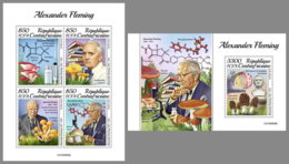 CENTRALAFRICA 2019 MNH Mushrooms Pilze Champignons Alexander Fleming M/S+S/S - OFFICIAL ISSUE - DH1950 - Funghi