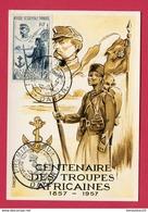 CP (Réf : V 794)   MILITARIA - AUTRES   CENTENAIRE DES TROUPES AFRICAINES 1857 - 1957 (très Beau Timbre - Militari